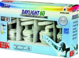 Feit Electric ESL13T/D/4 60-Watt Equivalent EcoBulb Daylight Mini Twist CFL Light Bulbs, 4-Pack