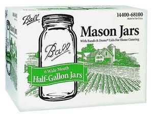 Jarden Home Brands 68100 1/2-Gallon Mason Canning Jars/Lids