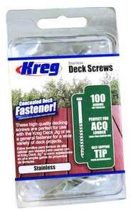 Kreg Tool SDK-C2W-100 Screw Dck Pan 8crs 2 in 100ct