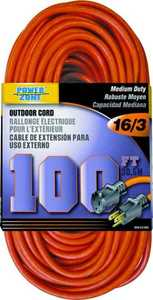 Power Zone OR501635 Extension Cord 16/3 100 ft Orange