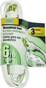 Power Zone OR660606 6 ft Household Extension Cord 16/2 White