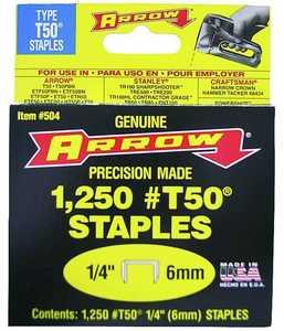Arrow Fastener Co 50424/504 1/4 in Staples 1250/Box