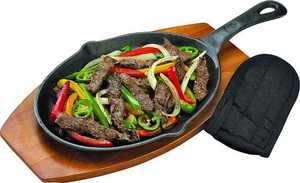 GrillPro 98170 Cast Iron Fajita Pan With Handle Cover