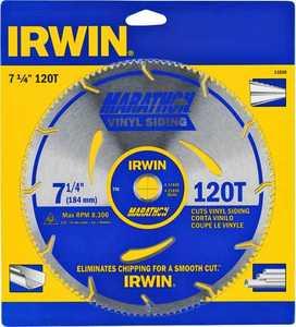 Irwin 11830 7.25 in 120t Vinyl Siding Blade