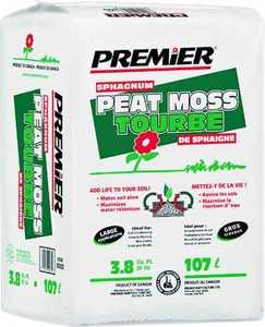 Premier Horticulture 0082P 3.8 Cuft Sphagnum Peat Moss Bale