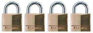 Master Lock 120Q 3/4 Pin Tumbler Brass Padlock 4-Pack