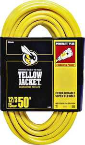Coleman Cable 2884 12/3 50 ft Yellow Jacket Extension Cord