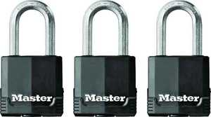 Master Lock M115XTRILF 1-9/16-Inch Padlock With 1-1/2-Inch Shackle 3-Pack
