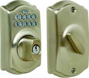 Schlage Lock BE365V CAM 619 Electronic Deadbolt Satin Nickel