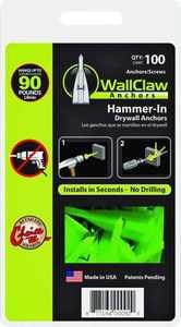 Wallclaw Anchors, Llc PCK-WC100-YS 100 Pack Anchors W/Screws