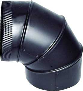 Gray Metal Products 6-24-602 6 in 24ga Black Adjustable Elbow