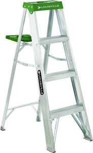 Louisville Ladder AS4004 4 ft Type II Aluminum Step Ladder, 225 Lb Rated