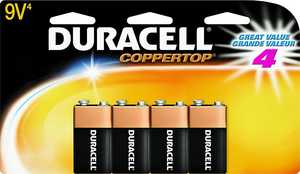 Duracell 0798827 Alkaline 9v-4pk Doublewide
