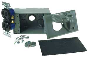 Bell Weatherproof 0897025 1g Gray Duplex Recepticle & Cover Kit