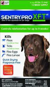 Sergeant's Pet 1846 Sentry Pro XFT Flea And Tick Squeeze-On For Dogs, 61 Pounds And Over