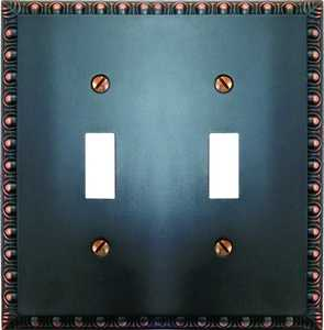 AmerTac 90TTVB Egg And Dart Aged Bronze Cast 2-Toggle Wallplate