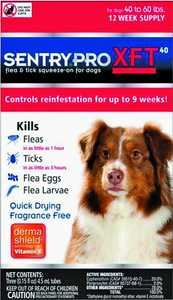 Sergeant's Pet 1845 Sentry Pro XFT Flea And Tick Squeeze-On For Dogs, 40 To 60-Pounds