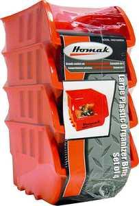 Homak HA01040954 Large Orange Plastic Bin 4-Pack