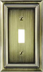 AmerTac 94TBB Continental Brushed Brass Cast Metal 1-Toggle Wallplate
