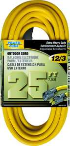 Power Zone OR500825 Ext Cord 12/3 25 ft Yellow