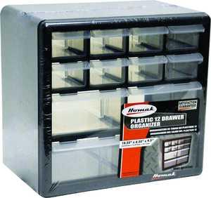 Homak HA01012001 12-Compartment Black Small Parts Organizer