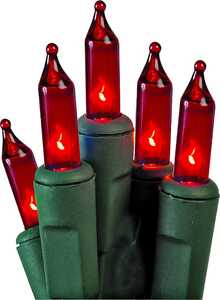 Holiday Basix U10E406D 50 Count String to String Red Mini LED Light Set