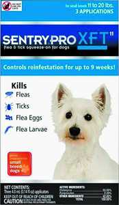 Sergeant's Pet 1843 Sentry Pro SFT Flea And Tick Squeeze-On For Dogs, 11 To 20-Pounds