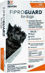 Sergeant's Pet 02950 Sentry FiproGuard For Dogs, Up To 22-Pounds
