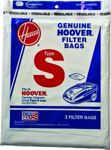 Hoover Co 4010064S Hoover Type S Vacuum Cleaner Filter Bags, 3-Pack