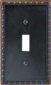 AmerTac 90TVB Egg And Dart Aged Bronze Cast Metal 1-Toggle Wallplate