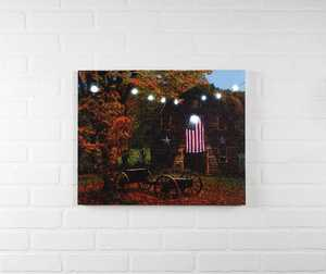 ohio Wholesale 13383 Lighted Art American Flag Barn 16 in x 20 in