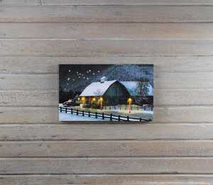 ohio Wholesale X46716 Lighted BARN AT CHRISTMAS 12 in x 20 in Canvas Painting