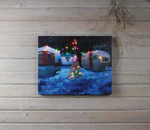 ohio Wholesale X47426 Lighted CAMP CHRISTMAS 16 in x 20 in Canvas Painting