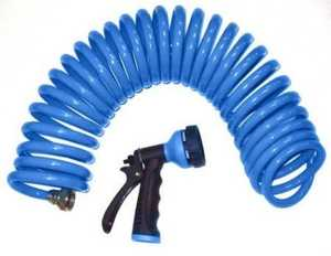 Orbit Irrigation 27891 Blue Coil Hose And Spray Nozzle 50 Ft