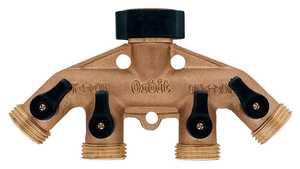 Orbit Irrigation 62010N Brass 4-Outlet Hose Faucet Manifold With Shut-Off Valve