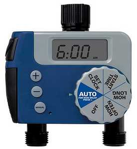 Orbit Irrigation 62062N 1-Dial Digital/Manual 2-Outlet Hose Faucet Timer