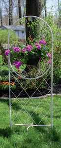 Panacea 83791 84 in French Country Trellis With Basket Hanger & Free Standing Foot