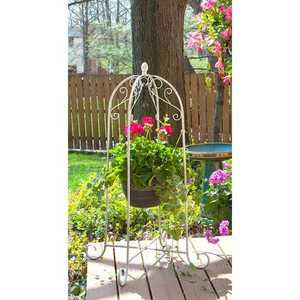 Panacea 88191 40 In French Country Scroll Hanging Basket Stand Distressed White