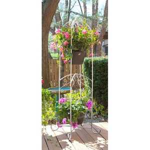 Panacea 88192 60 In French Country Scroll Hanging Basket Stand Distressed White