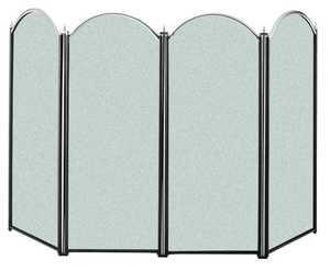 Panacea 15108 4 Panel Fireplace Screen Black/Brush Nickel
