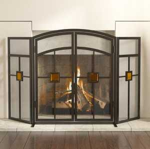 Panacea 15137 3 Panel Mission Style With Glass Insert Fireplace Screen