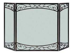 Panacea 15917 3 Panel Fireplace Screen Dual Scroll Brushed Bronze
