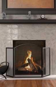 Panacea 15936 3 Panel Fireplace Screen Basic Arch Black
