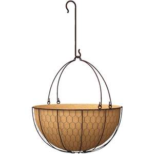Panacea 84278 14-Inch Rustic Hanging Basket Planter With S-Hook