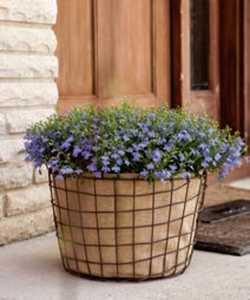 Panacea 83341 8 In Small Woven Wire Bushel Basket With Burlap Liner Rust