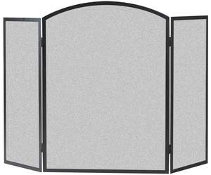 Panacea 15936 48-Inch X 33-Inch 3-Panel Black Basic Arch Fireplace Screen