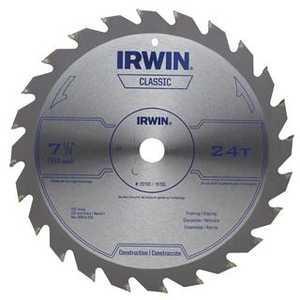 Irwin 25130 7-1/4-Inch 24t Carbide Circular Saw Blade