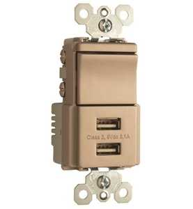 Legrand/Pass & Seymour TM83USBNICC6 Usb Charger With Single Pole/3-Way Switch, Nickel