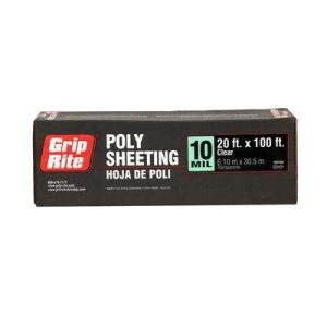 Grip-Rite 1020100C Poly Sheeting 10mil 20x100 Clear