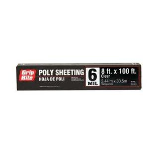 Grip-Rite 68100C Poly Sheeting 6mil 8x100 Clear